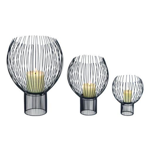 Contemporary Metal Globe Pillar Candle Holder 3-piece Set