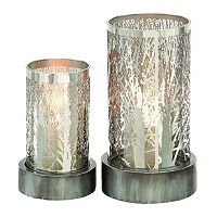 Tree Motif Cylinder Hurricane Candle Holder 2-piece Set