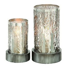 Tree Motif Cylinder Hurricane Candle Holder 2-piece Set