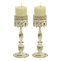 Metal Lace Pillar Candle Holder 2-piece Set