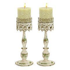 Metal Lace Pillar Candle Holder 2-piece Set