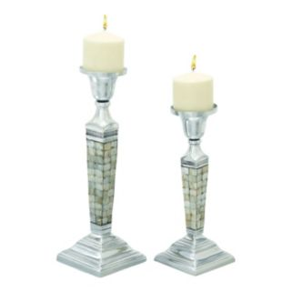 Modern Reflections Shell Tile Candle Holder 2-piece Set