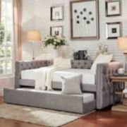 HomeVance Vanderbilt Tufted Trundle Twin Day Bed