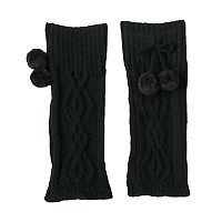 Girls 4-16 Cuddl Duds Cable Texture Pom Leg Warmers