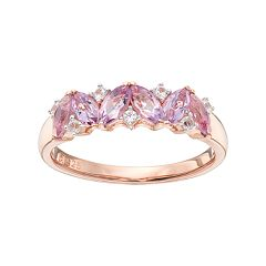14k Rose Gold Over Silver Rose de France Amethyst & Lab-Created White Sapphire Ring