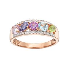 14k Rose Gold Over Silver Gemstone Ring