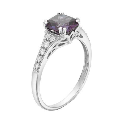 Sterling Silver Lab-Created Alexandrite & White Sapphire Ring