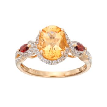 14k Gold Over Silver Gemstone Oval Halo Ring