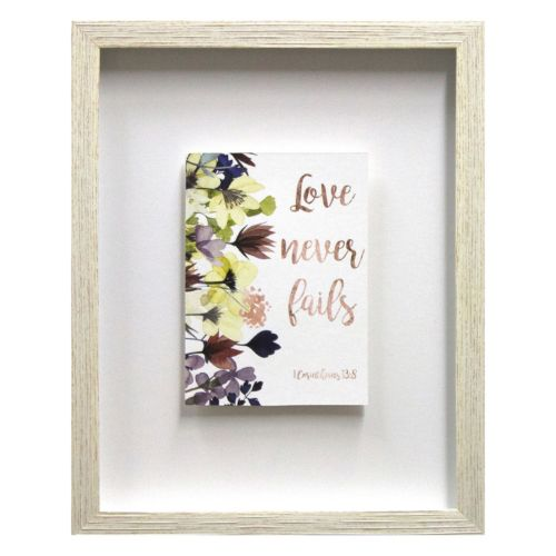 """Love Never Fails"" Framed Wall Art"