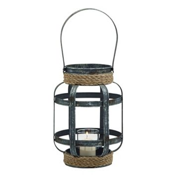 Rustic Reflections Banded Candle Holder Lantern