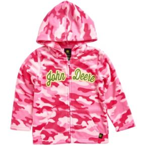 Girls 4-6x John Deere Pink Camouflage Microfleece Zip-Up Hoodie