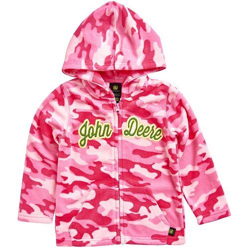 Girls 4-6x John Deere Pink Camouflage Microfleece Zip-Up Hoodie