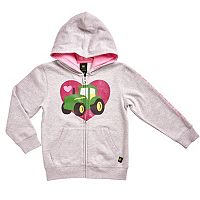 Girls 4-6x John Deere Glitter Heart Tractor Fleece-Lined Hoodie