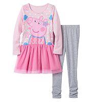 Girls 4-6x Peppa Pig Glitter Floral Tutu Dress & Ruched Leggings Set