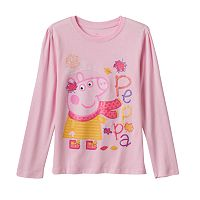 Girls 4-6x Peppa Pig Long Sleeve Fall Leaves Graphic Tee