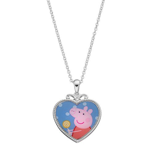 Peppa pig kids heart pendant necklace mozeypictures Gallery