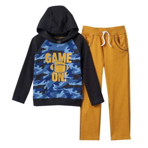"""Toddler Boy Boys Rock Thermal Camouflage """"Game On!"""" Hooded Tee & Pants Set"""