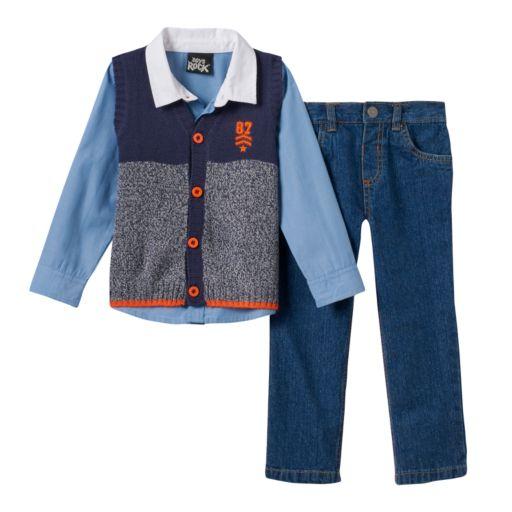 Toddler Boy Boys Rock Colorblock Knit Vest, Shirt & Jeans Set
