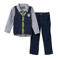 Toddler Boy Boys Rock Knit Vest, Plaid Shirt & Corduroy Pants Set
