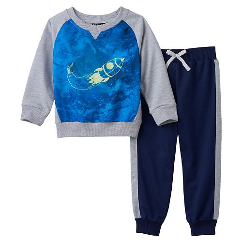 Toddler Boy Only Kids Apparel Rocket Graphic Sweatshirt & Pants Set
