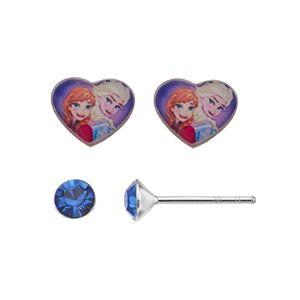 Disney's Frozen Anna & Elsa Kids' Crystal Stud Earring Set