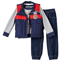 Toddler Boy Only Kids Apparel Racecar Applique Vest, Tee & Denim Jogger Pants Set