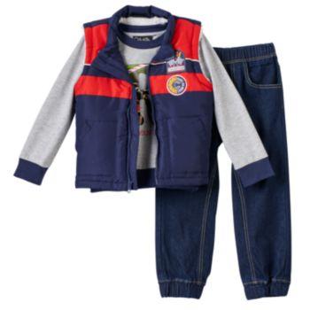 Toddler Boy Only Kids Apparel Racecar Applique Vest, Tee & Denim Jogger Pants Set