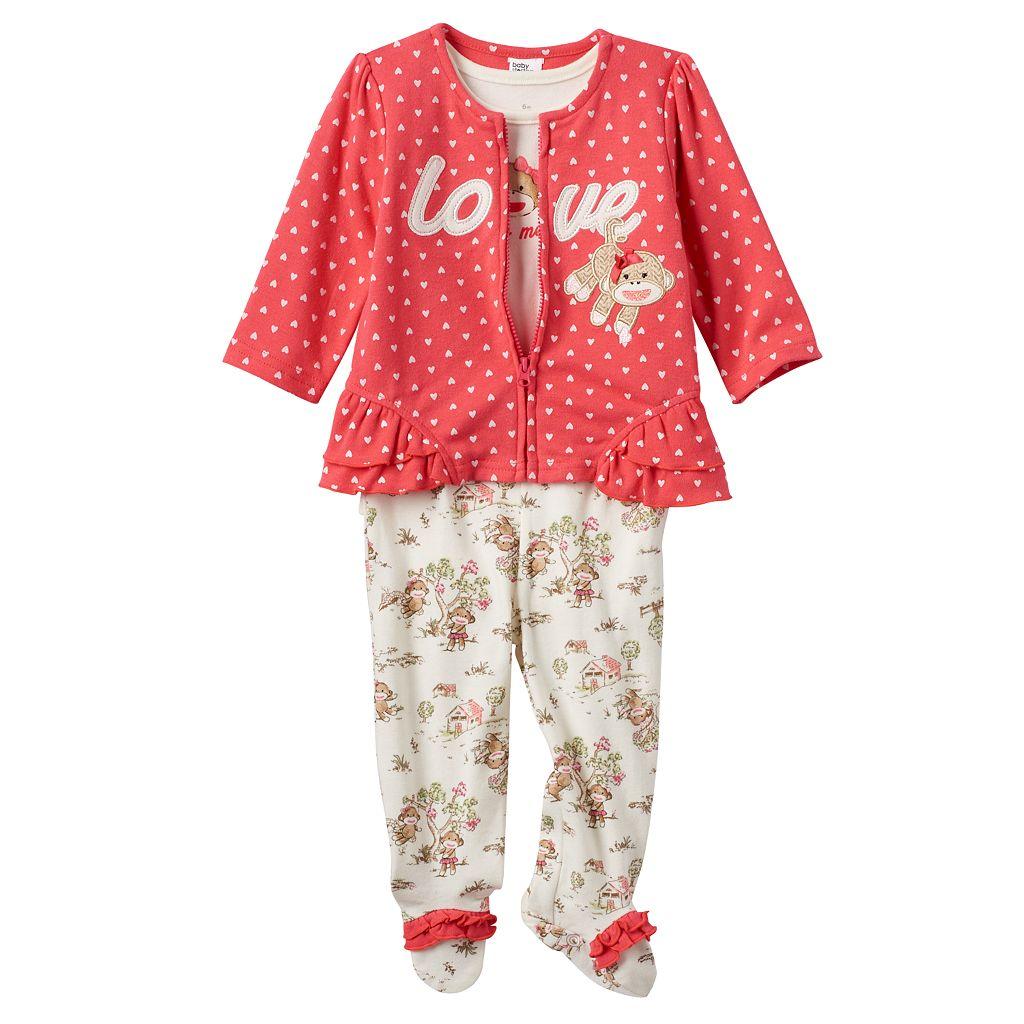 Baby Girl Baby Starters Sock Monkey 3-pc. Jacket, Bodysuit & Footed Pants Set