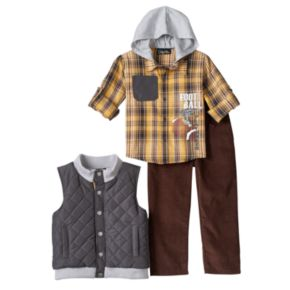 Toddler Boy Only Kids Apparel Quilted Vest, Plaid Shirt & Corduroy Pants Set