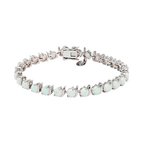 Sterling Silver Lab-Created White Opal Tennis Bracelet