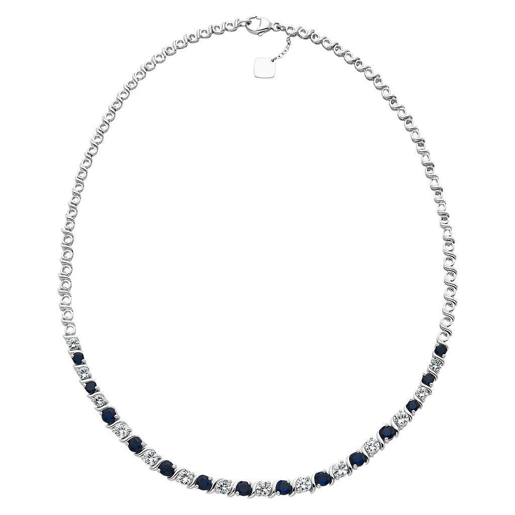 Sterling Silver Lab-Created Blue & White Sapphire Necklace