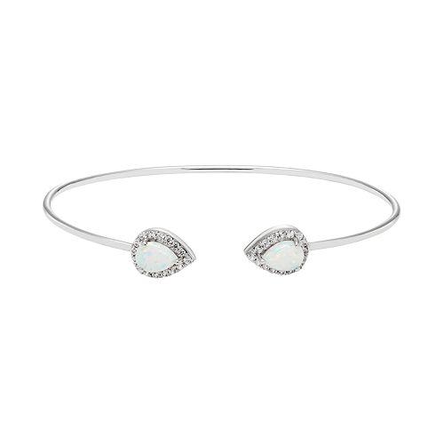 Sterling Silver Lab-Created White Opal & White Sapphire Teardrop Halo Cuff Bracelet