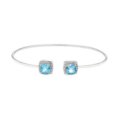 Sterling Silver Blue & White Topaz Halo Cuff Bracelet