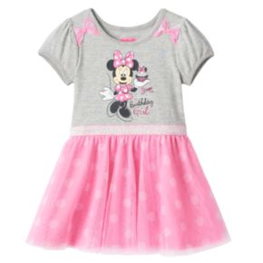 "Disney's Minnie Mouse Girls 4-6x ""Sweet Birthday Girl"" Glitter Tulle Dress"