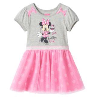 "Disney's Minnie Mouse Girls 4-6x ""Sweet Birthday Girl"" Glitter Tulle Dress"