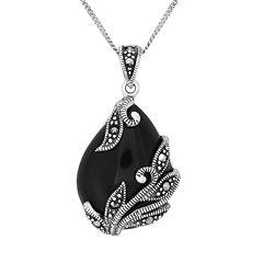 Tori HillSterling Silver Onyx & Marcasite Leaf Teardrop Pendant