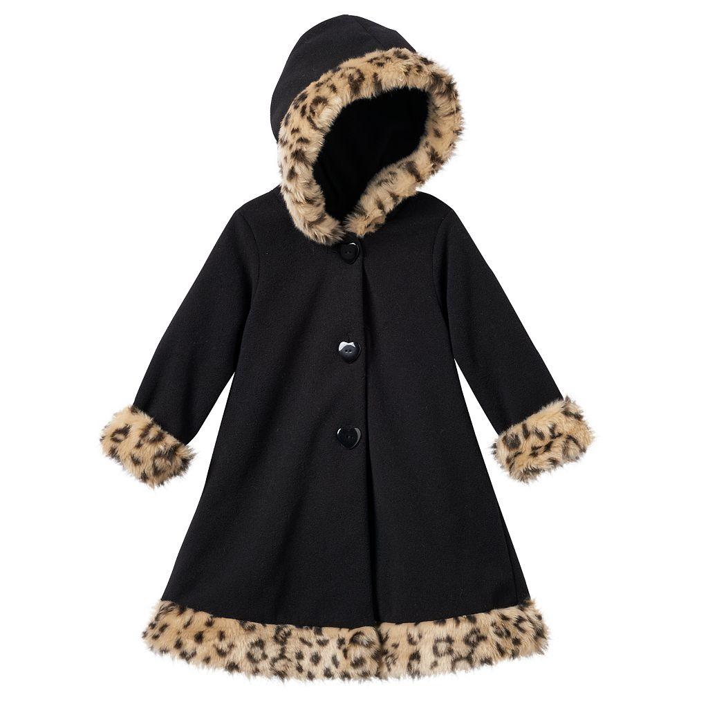 Toddler Girl Sophie Rose Hooded Faux-Fur Fleece Coat