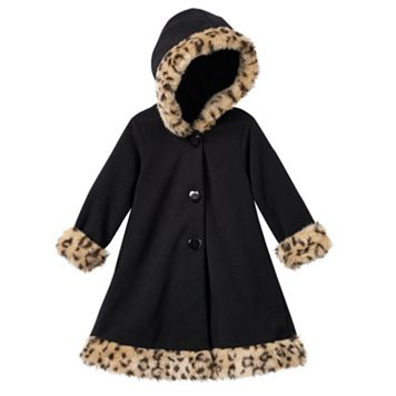 Toddler Girl Sophie Rose Hooded Faux-Fur Fleece Coat