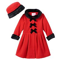 Baby Girl Sophie Rose Bow Faux-Fur Fleece Coat & Hat Set