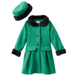 Baby Girl Sophie Rose Green Fleece Peacoat with Hat