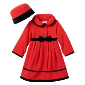 Baby Girl Sophie Rose Velvet-Trim Bow Fleece Coat & Hat Set