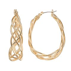 Napier Braided Oval Hoop Earrings