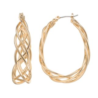 Napier Braided Oval Hoop Earrings