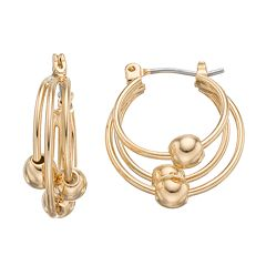 Napier Beaded Layered Hoop Earrings