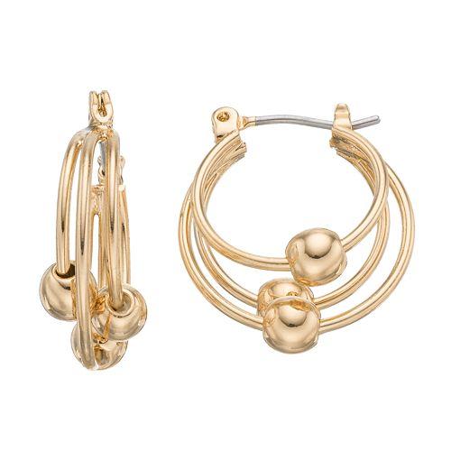 Napier Beaded Layered Hoop Earrings