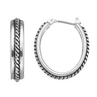 Napier Rope Oval Hoop Earrings