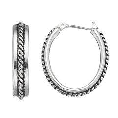 Napier Rope Oval Hoop Earrings