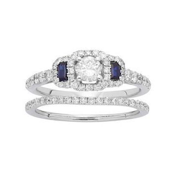 14k White Gold 1 Carat T.W. IGL Certified Diamond & Sapphire Halo Engagement Ring Set