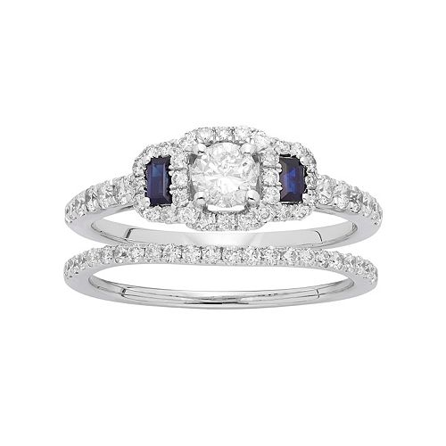 14k White Gold 1 Carat T.W. IGL Certified Diamond & Sapphire Halo Engagement Ring Set