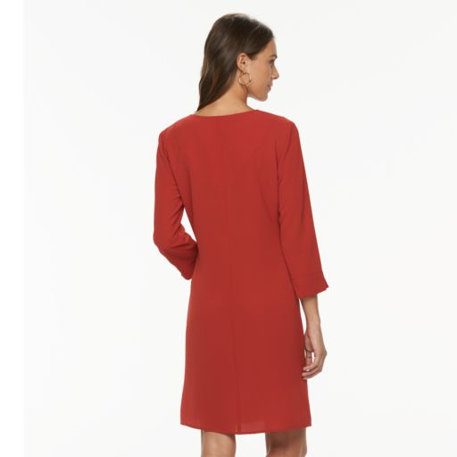 Women's MSK Lace-Up Crepe Shift Dress